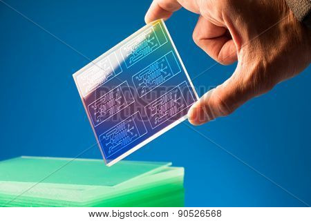 A lab on chip is device integrates several laboratory processes in one device, mostly LOC based on glass plate poster