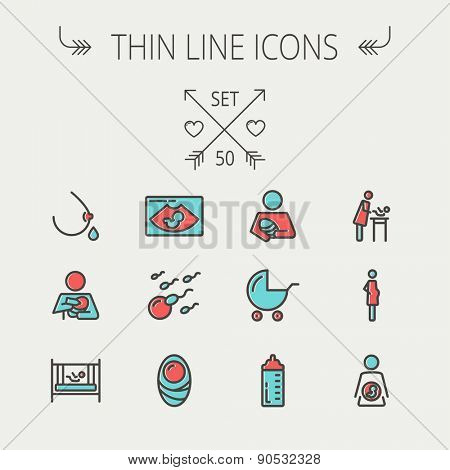 Medicine thin line icon set for web and mobile. Set include- breastmik, breastfeed. crib, icons. Modern minimalistic flat design. Vector icon with dark grey outline and offset colour on light grey