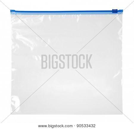 Empty plastic zipper bag isolated on white background