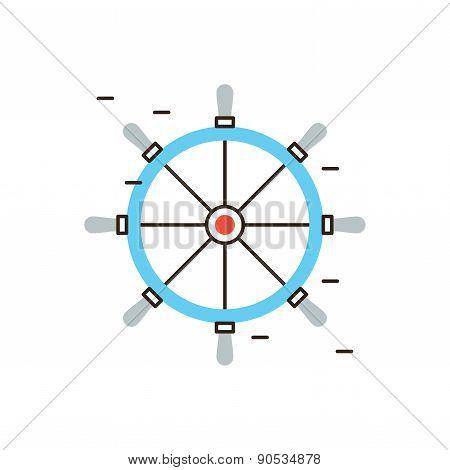 Steering Wheel Flat Line Icon Concept