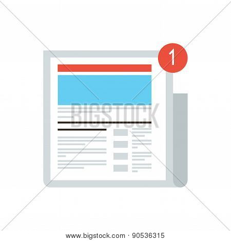 Thin line icon with flat design element of news update message mark new digital content social media blog internet newspaper latest news article. Modern style logo vector illustration concept. poster