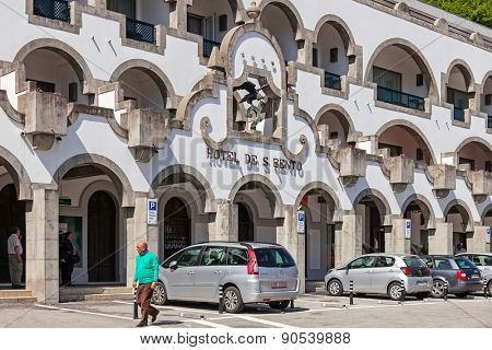 Sao Bento da Porta Aberta, Portugal. April 06, 2015: S. Bento Hotel located in front of the Sanctuary. Pope Francis promoted the Sanctuary church to Basilica in its 400th anniversary on March, 21st