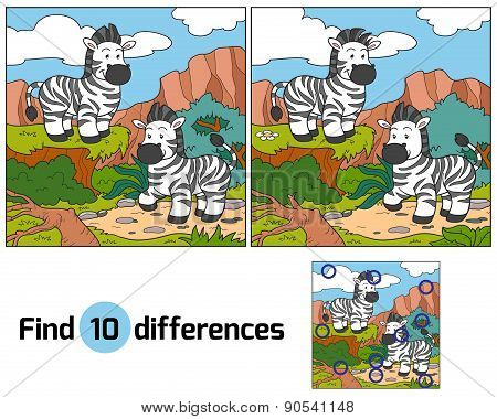 Game for children: Find differences (two zebras) poster