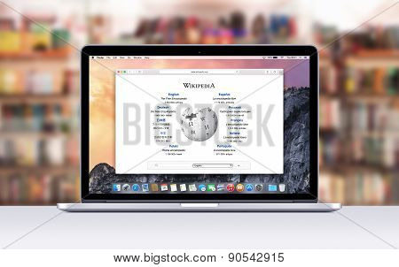 Apple Macbook Pro Retina With An Open Tab In Safari Which Shows Wikipedia Web Page