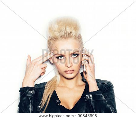 Stylish Fashionable Blonde Girl Hipster With Tattoo