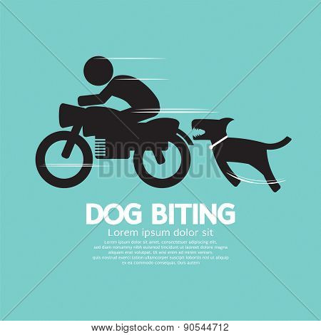 Dog Biting A Man On A Motorcycle.