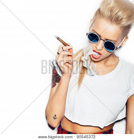 Blonde Woman In Sunglasses Smoking Cigar