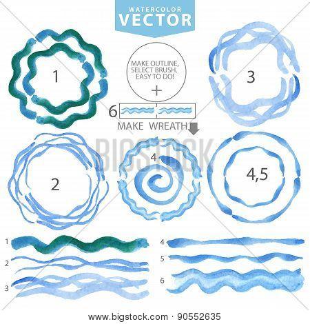 Watercolor wavy brushes,circle frame.Cyan,blue.Summer