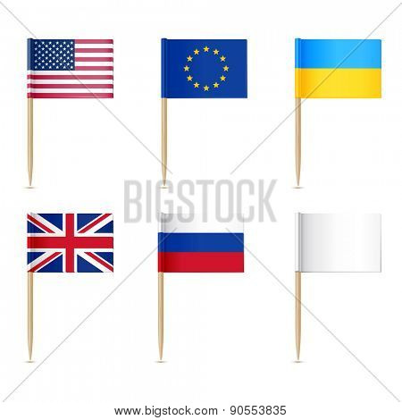 Flags toothpick. American, Europen union, United Kingdom, Ukraine,  Russian, White flags poster