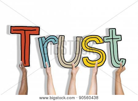 Diverse Hands Holding the Word Trust poster