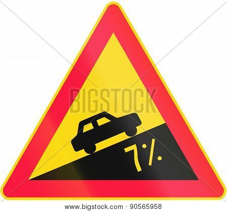Road sign 116 in Finland - Steep grade poster