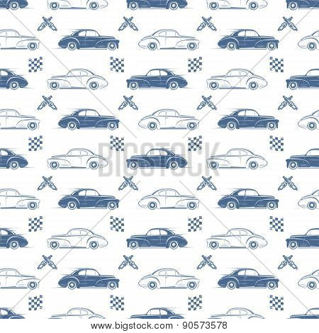 Vintage seamless pattern with cars.
