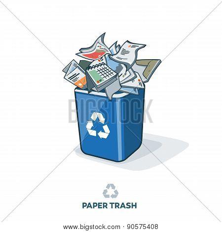 Paper Trash In Recycling Bin