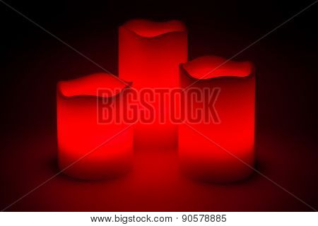 Three Red Led Candles