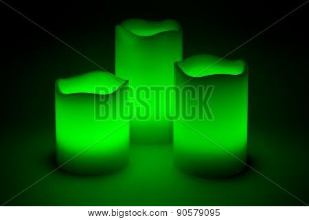 Three Green Led Candles