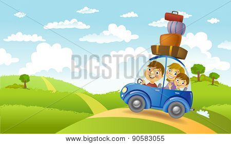 Family traveling in the car, vector illustration