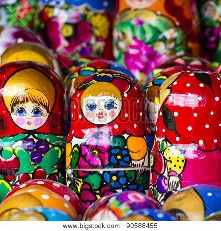 Colorful Russian Nesting Dolls Matreshka At The Market. Matrioshka Nesting Dolls Are The Most Popula