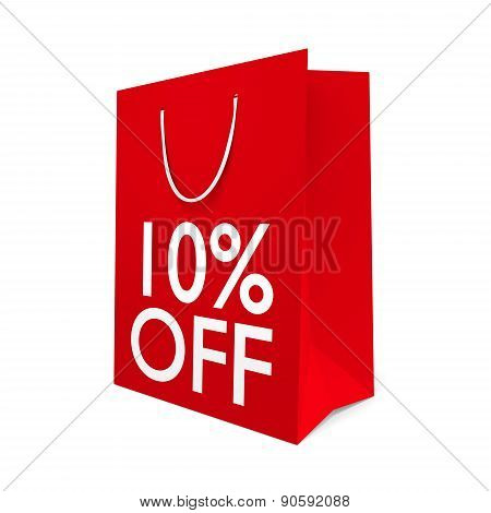 Red paper shopping bag for a 10 percent off sale