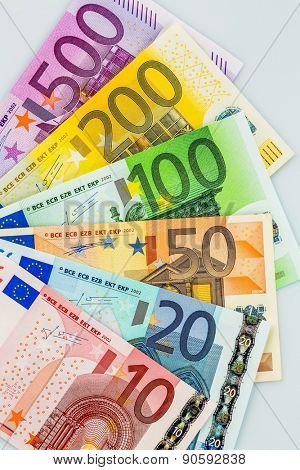 many different euro bills. symbolic photo for wealth and investment. poster
