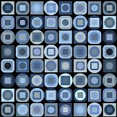 Background with blue geometrical shapes on black background poster