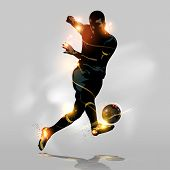 Abstract soccer player quick shooting a ball poster