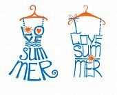 Typography Design. Silhouette of dress and tee shirt from words with hanger, heart, sun.The message I love summer.Fashion illustration.To use as logo , icon, label, stiker, doodle vector. poster