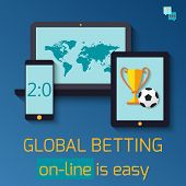 Concept for web banner sports betting statistics. Flat design icons for sports theme. poster