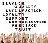 Customer Service Quality Satisfaction Crossword Puzzle Concept poster