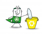 Recycling a plastic bottle with Joe. Recycle-Man the superhero recycles a plastic bottle in a specific trash poster