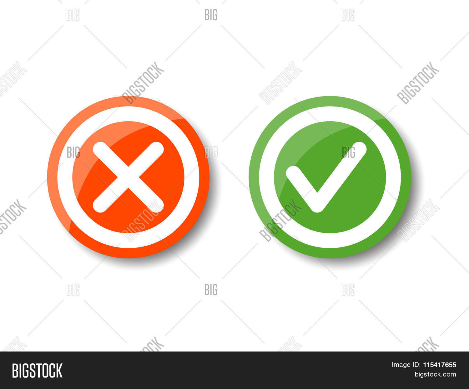 Tick Cross Icons Vector Photo Free Trial Bigstock