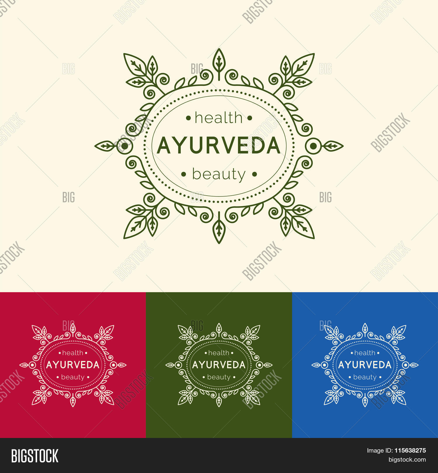 Ayurveda Vector Ilration Logo Template For Ayurvedic Clinic Or Center Monogram With Fl Ornament Spa Yoga Studio Beauty Salon