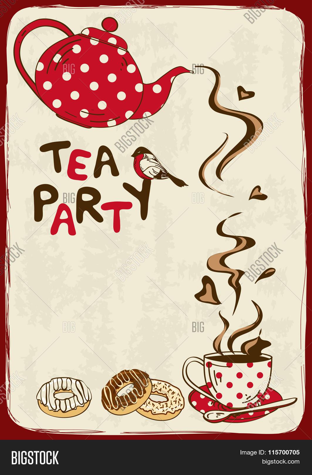 Tea Party Invitation Vector Photo Free Trial Bigstock