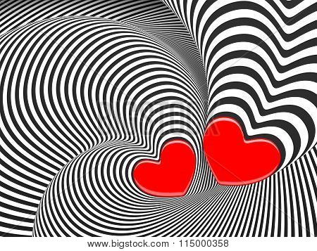 Hypnotic Love 3D Background With A Hearts.