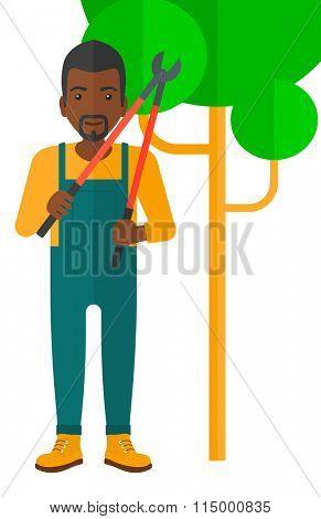 Farmer with pruner.