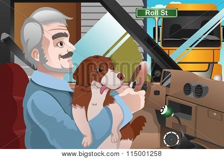 Senior Man Driving In The City