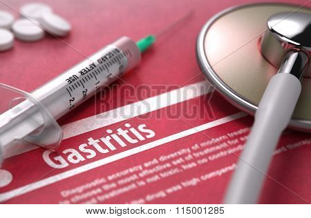 Gastritis. Medical Concept on Red Background.