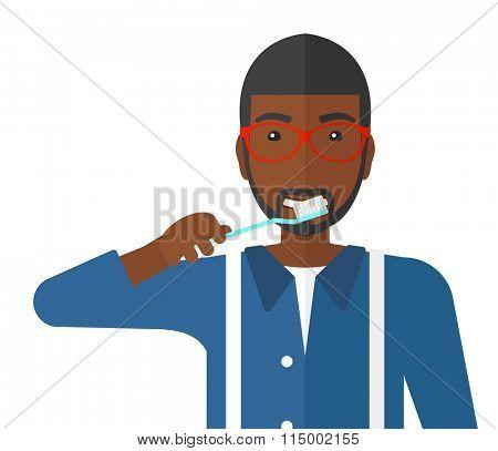 Man brushing teeth.