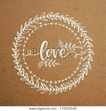 Beautiful floral design decorated greeting card with stylish text Love on brown background for Happy Valentine's Day celebration.
