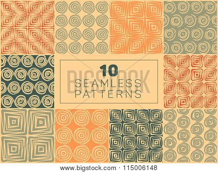 Set of Ten Vector Seamless Hand Drawn Geometric Square Circular Lines Patterns In Orange Tan and Gre