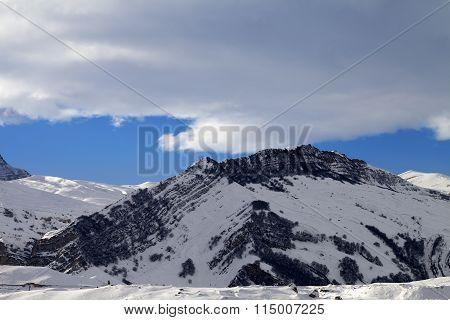 Winter Mountains At Nice Sun Evening