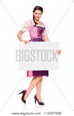 Pretty Young Girl With Dirndl Dress Holding Board