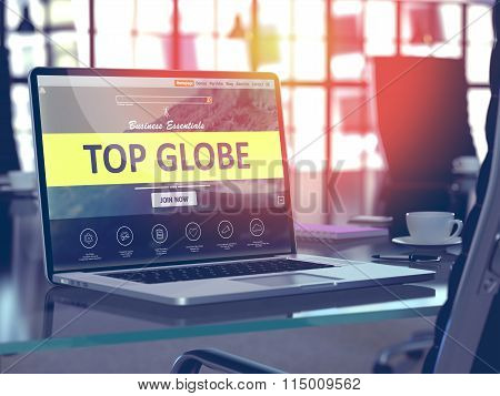 Top Globe Concept on Laptop Screen.