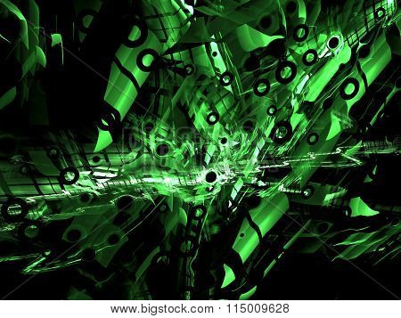 Abstract Technology Style Digitally Generated Green Background