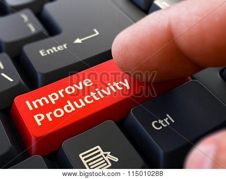Improve Productivity Concept. Person Click Keyboard Button.