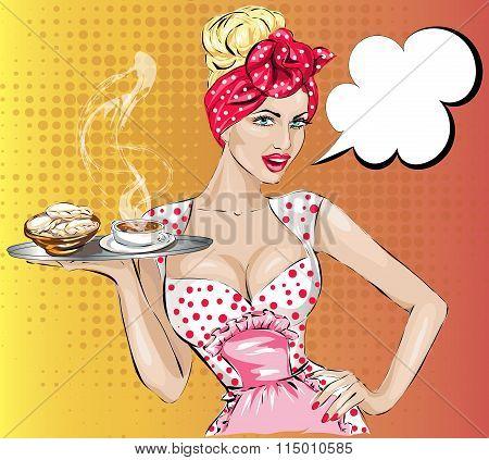 Pop Art Woman With Breakfast. Pin-up Girl Speech Bubble.