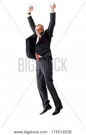Senior Business Man Jumping