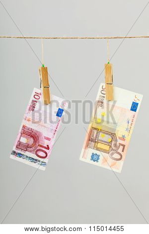 Banknotes On Laundry Line