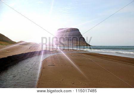Cape on seaside  island Sakhali