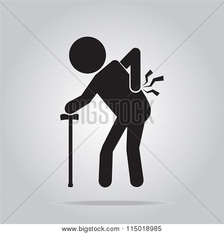 Elderly Man With Stick And Injury Of The Back Pain Icon