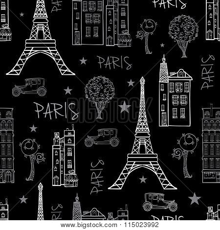 Vector Black White Paris Streets Travel Seamless Pattern with Eifel Tower, houses, trees and vintage